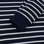 Мужская толстовка Lacoste Stripe Fleece Crew Sweat Navy/White фото- 3