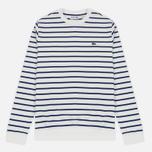 Мужская толстовка Lacoste Stripe Fleece Crew Sweat White/Blue фото- 0