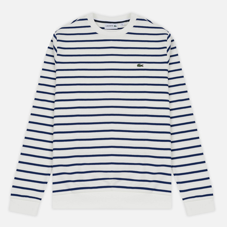 Мужская толстовка Lacoste Stripe Fleece Crew Sweat White/Blue