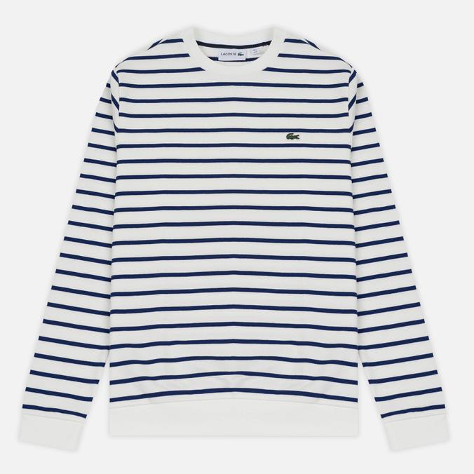 Мужская толстовка Lacoste Stripe Fleece Crew Sweat White/Blue