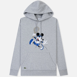 Мужская толстовка Lacoste x Disney Mickey Mouse Embroidered Fleece Hoodie Silver Chine фото- 0