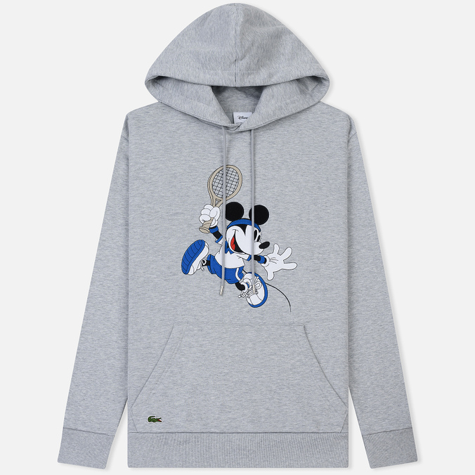 Мужская толстовка Lacoste x Disney Mickey Mouse Embroidered Fleece Hoodie Silver Chine