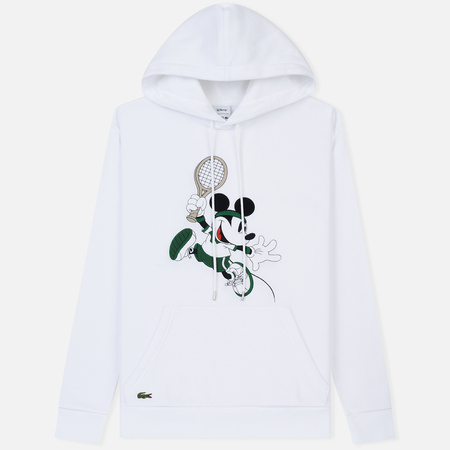 Мужская толстовка Lacoste x Disney Mickey Mouse Embroidered Fleece Hoodie White