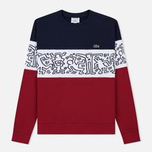 Мужская толстовка Lacoste x Keith Haring Print Crew Neck Colourblock Bordeaux/White/Navy Blue фото- 0