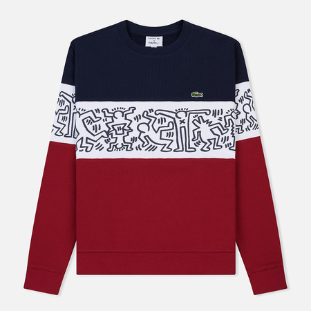 d76b2a9d3b11748 Мужская толстовка Lacoste x Keith Haring Print Crew Neck Colourblock  Bordeaux/White/Navy Blue