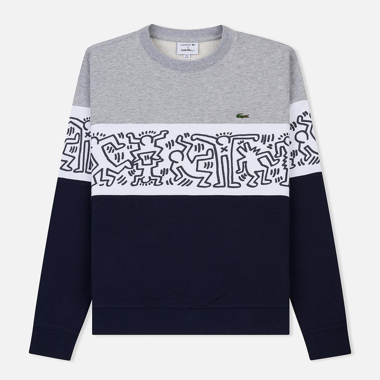 Мужская толстовка Lacoste x Keith Haring Print Crew Neck Colourblock Navy Blue/White/Grey Chine