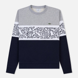 Мужская толстовка Lacoste x Keith Haring Print Crew Neck Colourblock Navy Blue/White/Grey Chine фото- 0