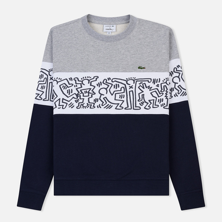 68848833f280 Мужская толстовка Lacoste x Keith Haring Print Crew Neck Colourblock Navy  Blue/White/Grey