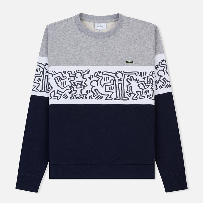 Мужская толстовка Lacoste x Keith Haring Print Crew Neck Colourblock Navy Blue/White/Grey Chine