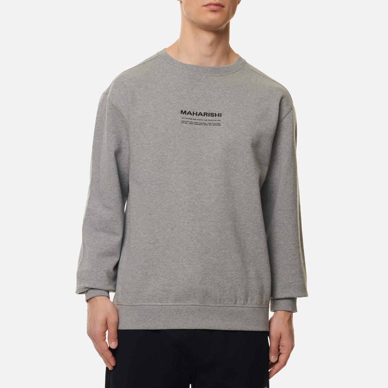 Мужская толстовка maharishi Organic Crew Military Type Embroidery Grey Marl