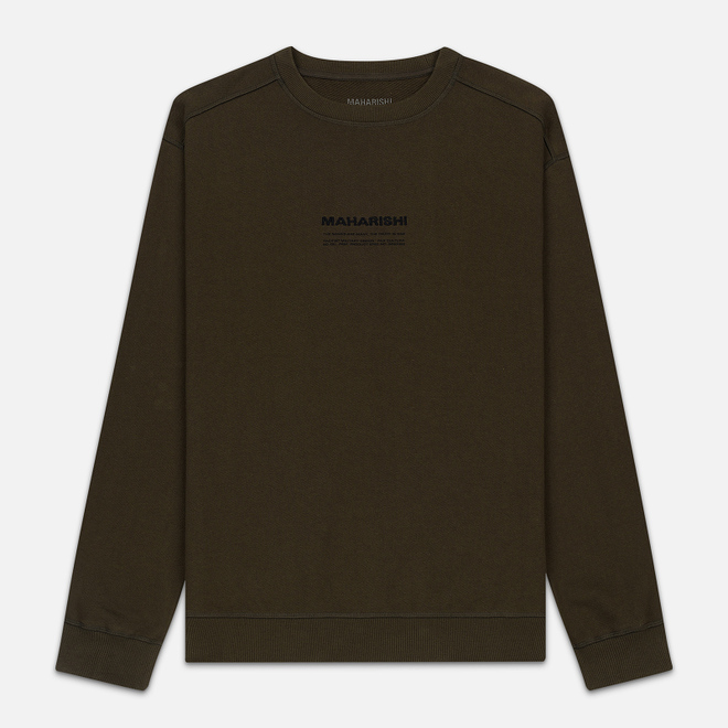 Мужская толстовка maharishi Organic Crew Military Type Embroidery Military Olive