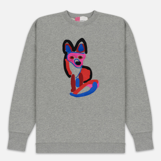 Мужская толстовка Maison Kitsune Acide Fox Embroidery Grey Melange