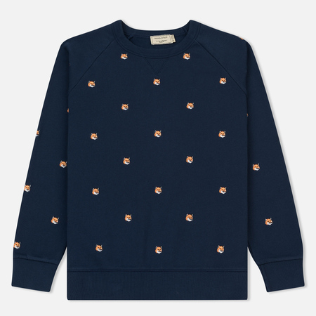 Мужская толстовка Maison Kitsune All Over Fox Head Embroidery Dark Blue