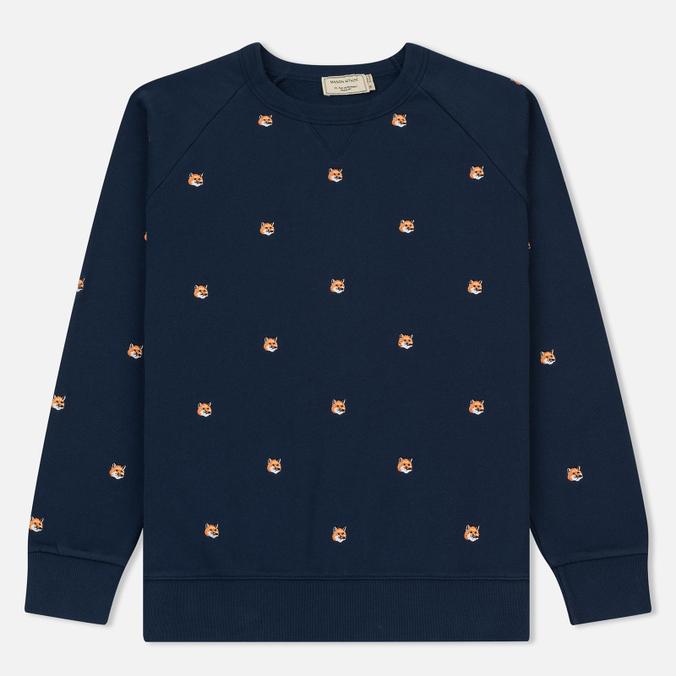 Мужская толстовка Maison Kitsune All Over Fox Head Embroidery Dark Blue