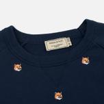 Мужская толстовка Maison Kitsune All Over Fox Head Embroidery Dark Blue фото- 1