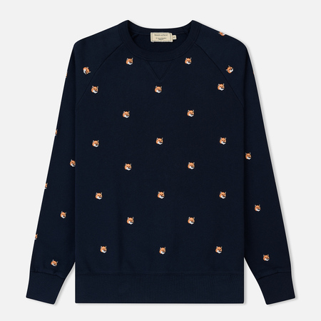 Мужская толстовка Maison Kitsune All Over Fox Head Patch Embroidery Navy