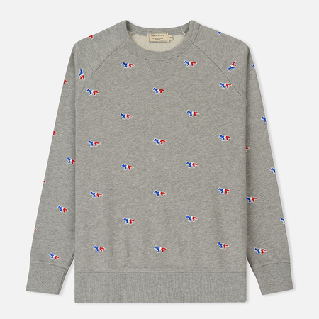 Мужская толстовка Maison Kitsune All Over Tricolor Fox Patch Embroidery Grey Melange