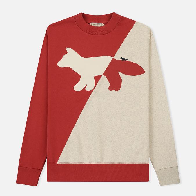 Мужская толстовка Maison Kitsune Diagonal Fox Ecru/Red