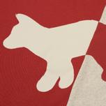 Мужская толстовка Maison Kitsune Diagonal Fox Ecru/Red фото- 2