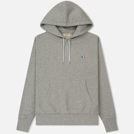 Мужская толстовка Maison Kitsune Hoodie Tricolor Fox Patch Grey Melange