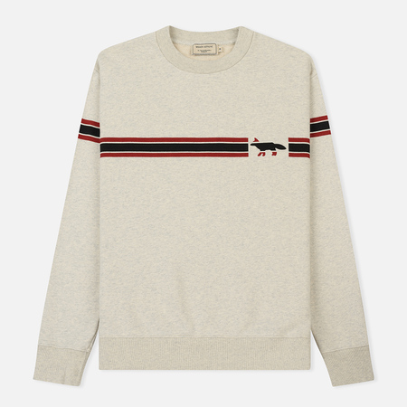 Мужская толстовка Maison Kitsune Striped Fox Ecru Melange