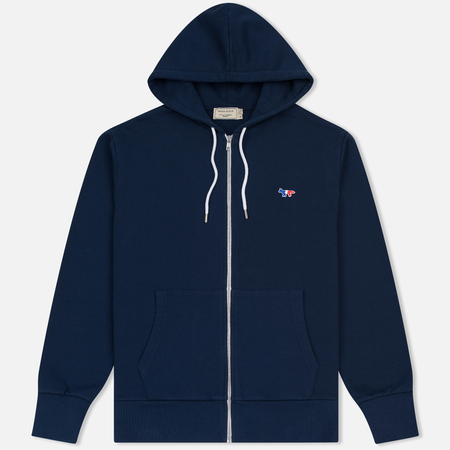 Мужская толстовка Maison Kitsune Tricolor Fox Patch Full Zip Dark Blue