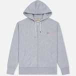 Мужская толстовка Maison Kitsune Tricolor Fox Patch Full Zip Light Grey Melange фото- 0
