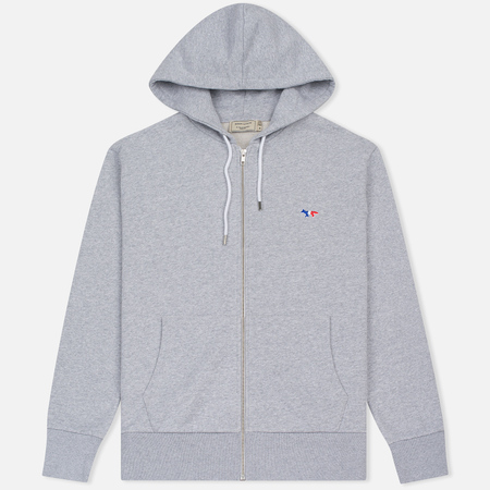 Мужская толстовка Maison Kitsune Tricolor Fox Patch Full Zip Light Grey Melange