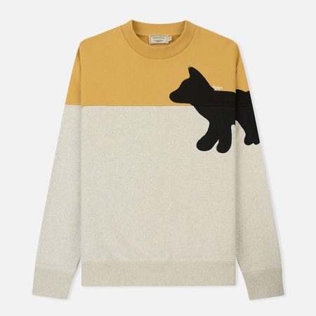 Мужская толстовка Maison Kitsune Walking Fox Yellow/Ecru