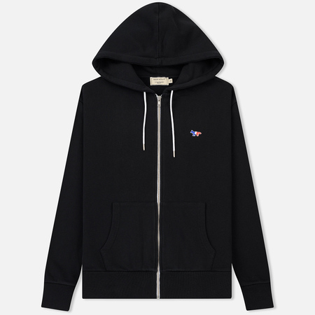 Мужская толстовка Maison Kitsune Zip Hoodie Tricolor Fox Patch Black