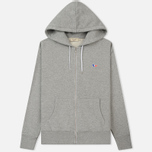Мужская толстовка Maison Kitsune Zip Hoodie Tricolor Fox Patch Grey Melange фото- 0