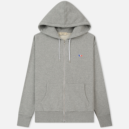 Мужская толстовка Maison Kitsune Zip Hoodie Tricolor Fox Patch Grey Melange