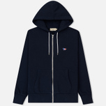Мужская толстовка Maison Kitsune Zip Hoodie Tricolor Fox Patch Navy фото- 0