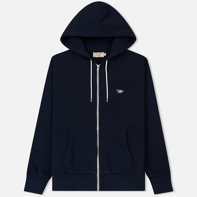 Мужская толстовка Maison Kitsune Zip Hoodie Tricolor Fox Patch Navy