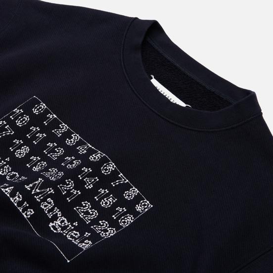 Мужская толстовка Maison Margiela Embroidered Numeric Logo Crew Neck Dark Blue