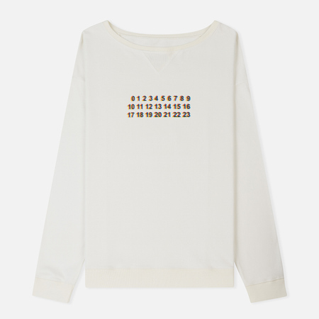 Мужская толстовка Maison Margiela Printed Numbers Crew Neck Off White