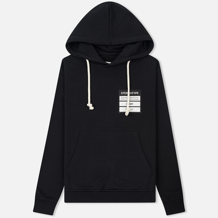 Мужская толстовка Maison Margiela White Drawstrings Hoodie Black