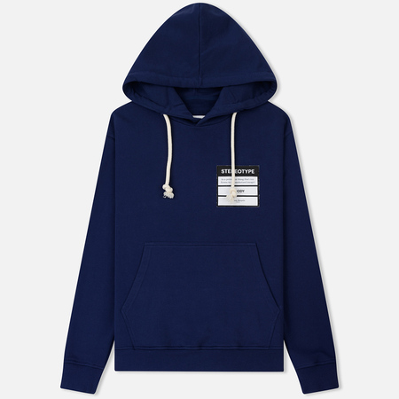 Мужская толстовка Maison Margiela White Drawstrings Hoodie Ink Blue