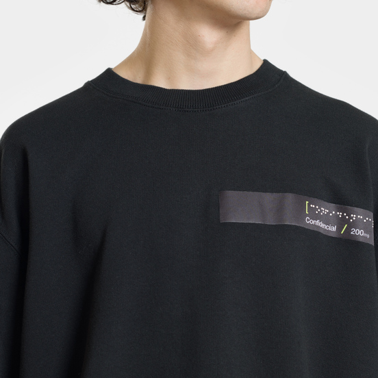 Мужская толстовка Marcelo Burlon Braille Tape Pocket Crewneck Black/Fluo Yellow