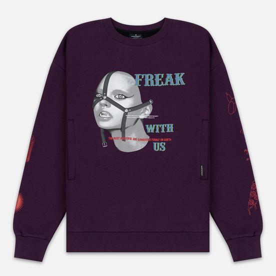 Мужская толстовка Marcelo Burlon Freak Over Crew Neck Dark Purple/Multicolor