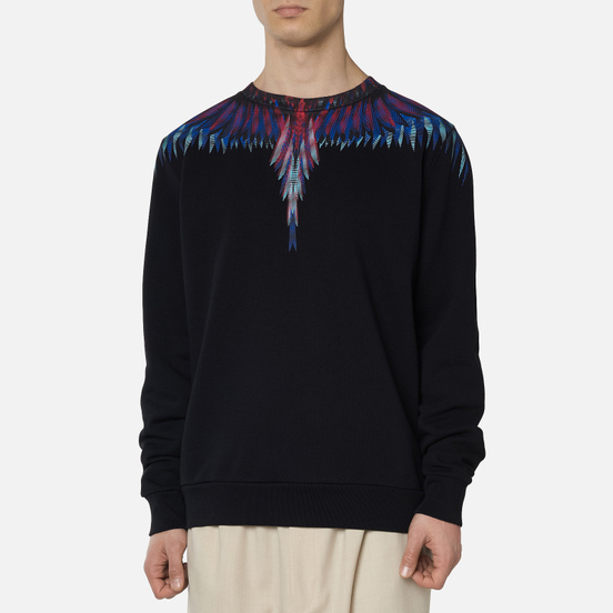 Мужская толстовка Marcelo Burlon Sharp Wings Regular Crewneck Black/Blue Fluo