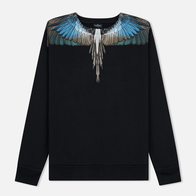 Мужская толстовка Marcelo Burlon Turquoise Wings Crewneck Black/Multicolor
