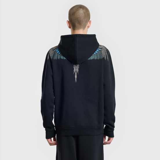 Мужская толстовка Marcelo Burlon Turquoise Wings Hoodie Black/Multicolor