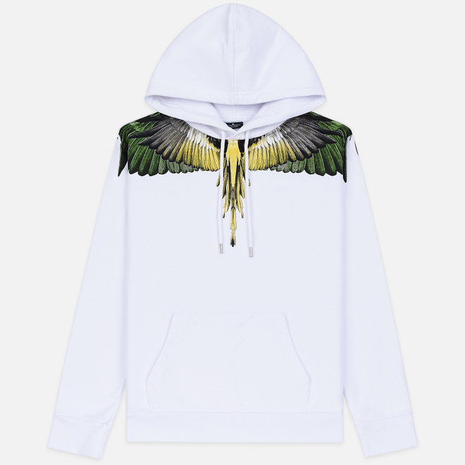 Мужская толстовка Marcelo Burlon Yellow Wings Hoodie White/Multicolor