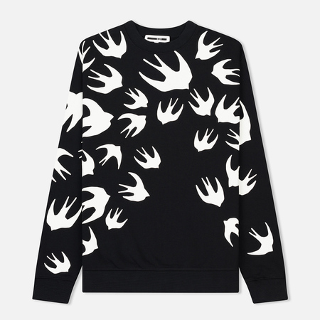 Мужская толстовка McQ Alexander McQueen Clean Crew Neck Swallow Swarm Darkest Black