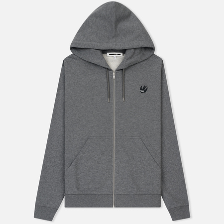 Мужская толстовка McQ Alexander McQueen Clean Zip Hoodie SG Swallow Badge Stone Grey Melange