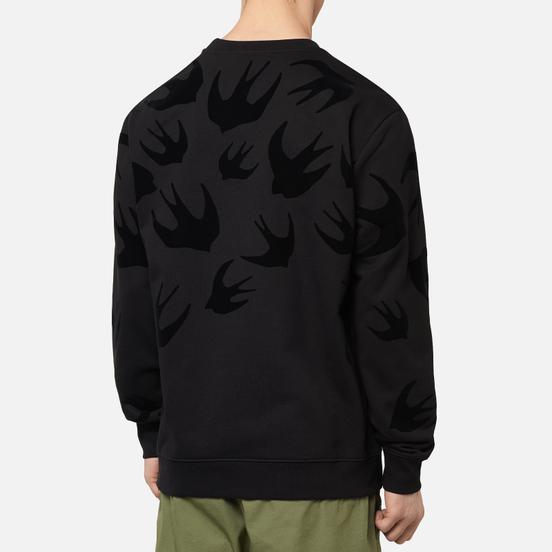 Мужская толстовка McQ Alexander McQueen Crew Neck  Swallow Flocked Darkest Black