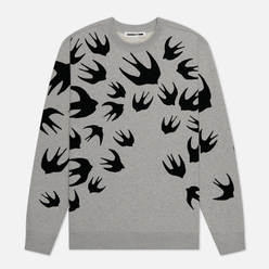 Мужская толстовка McQ Alexander McQueen Crew Neck  Swallow Flocked Mercury Melange