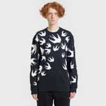Мужская толстовка McQ Alexander McQueen Crew Neck Swallow Swarm Darkest Black фото- 2