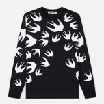 Мужская толстовка McQ Alexander McQueen Crew Neck Swallow Swarm Darkest Black фото- 0